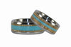 Mango Wood and Turquoise Titanium Ring Set - Hawaii Titanium Rings  - 4