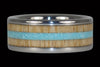 Blue Sleeping Beauty Turquoise and Mango Wood Ring - Hawaii Titanium Rings  - 1