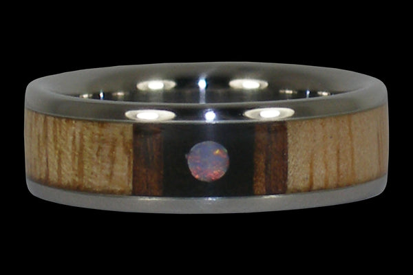 Opal Cabochon Titanium Ring Band