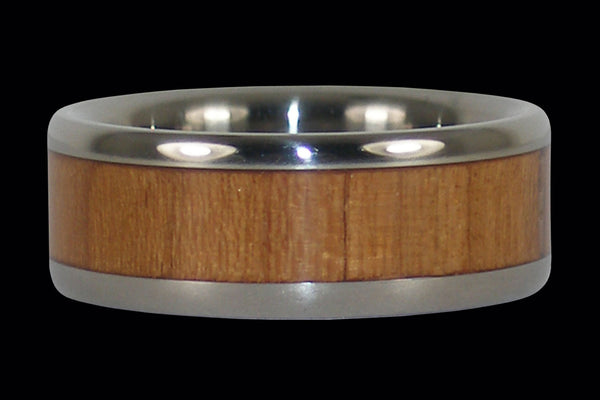 Maple Wood Inlay Titanium Ring Band