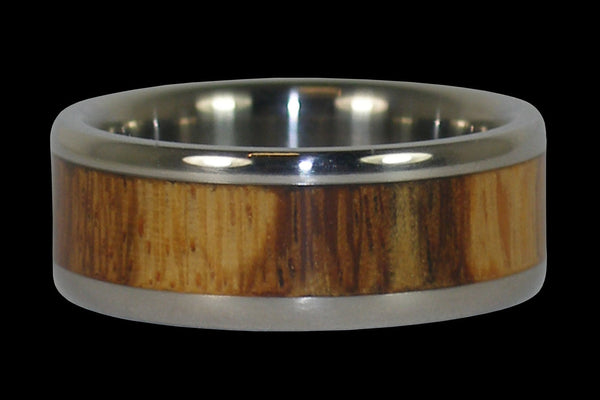 Marble Wood Inlay Titanium Ring Band