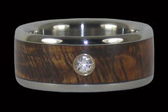 Koa Diamond Titanium Ring - Hawaii Titanium Rings  - 1