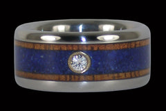 Koa and Blue Lapis Diamond Titanium Ring - Hawaii Titanium Rings  - 1