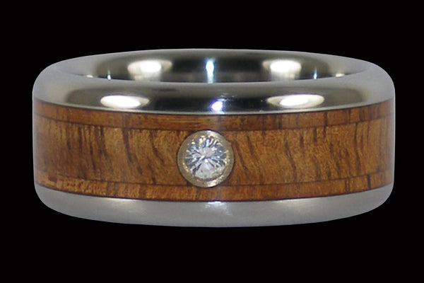 Tiger Koa Wood Diamond Titanium Wedding Ring From Hawaii Titanium Rings®