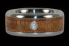 Tiger Koa Wood Diamond Titanium Wedding Ring - Hawaii Titanium Rings  - 1