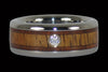 Diamond Titanium Ring with Hawaiian Koa - Hawaii Titanium Rings