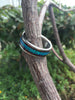 Blue Lab Opal and Dark Koa Titanium Ring - Hawaii Titanium Rings  - 3