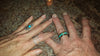 Diamond Titanium Ring Band with Turquoise and Mango Wood - Hawaii Titanium Rings  - 5
