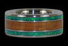 Green Lab Opal and Hawaiian Koa Titanium Ring Set - Hawaii Titanium Rings  - 3