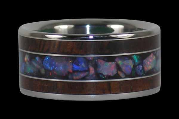 Australian Rainbow Opal and Dark Koa Titanium Rings