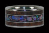 Australian Rainbow Opal and Dark Koa Titanium Rings - Hawaii Titanium Rings  - 1