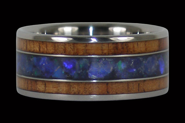 Australian Black Opal and Hawaiian Koa Titanium Ring