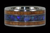 Australian Black Opal and Hawaiian Koa Titanium Ring | KOA Wood Ring