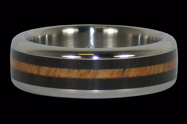 Hawaiian Wooden Inlay Titanium Ring