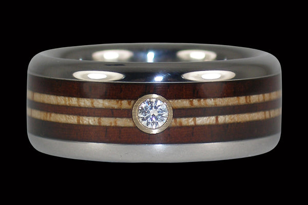 Diamond Wood Wedding Band-Surf Inspired