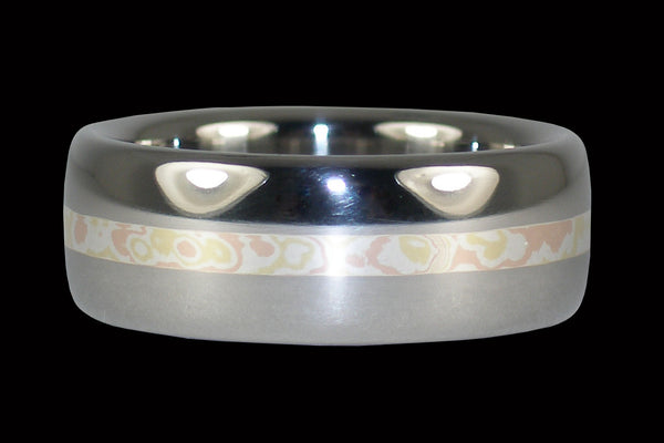 Mokumagane Inlay Polished Titanium Ring