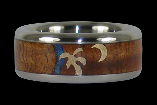 Koa Wood Hawaii Titanium Ring®