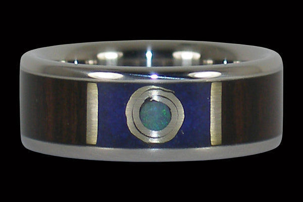 Moon Ring with Mun Ebony and Lapis