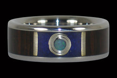 Moon Ring with Mun Ebony and Lapis - Hawaii Titanium Rings
