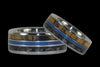 Triple Inlay Titanium Ring Band with Wood and Opal - Hawaii Titanium Rings  - 2