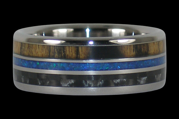 Triple Inlay Titanium Ring Band with Wood and Opal