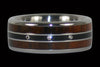 Titanium Ring Band with Three Diamonds and Cocobolo Wood - Hawaii Titanium Rings