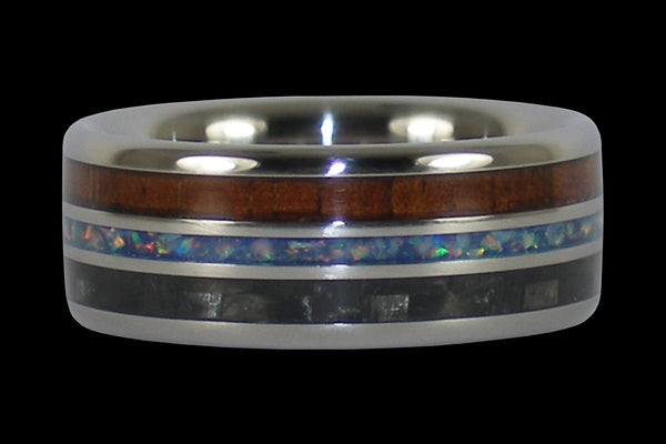 Hawaiian Koa Wood and Gray Carbon FiberHawaii Titanium Ring®