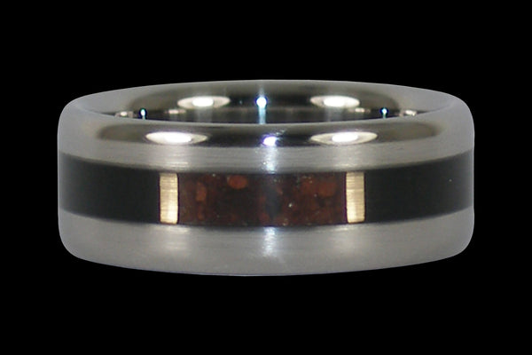 Black Wood and Red Tigers Eye Titanium Ring Band