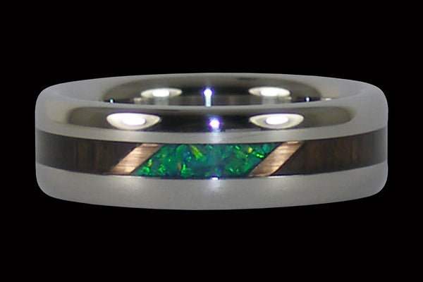Blackwood and Kiwi Opal Titanium Ring