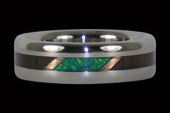 Blackwood and Kiwi Opal Titanium Ring - Hawaii Titanium Rings