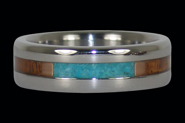 Fire Koa and Turquoise Titanium Ring