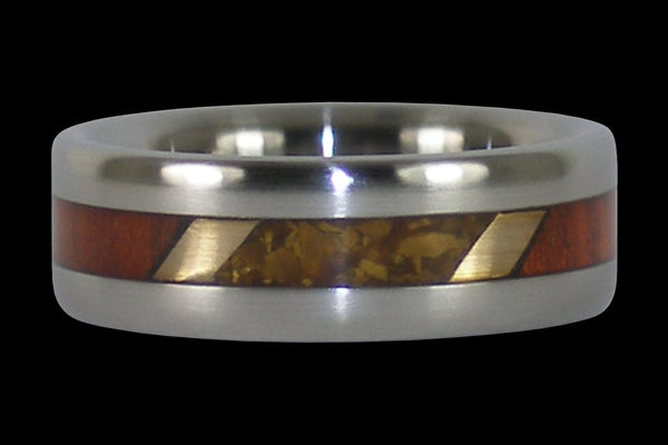 Gold Tigers Eye and Padauk Wood Titanium Ring