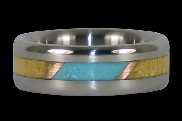 Turquoise and Wood Titanium Ring Band
