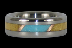 Turquoise and Wood Titanium Ring Band - Hawaii Titanium Rings