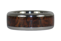 Dark Koa Wood Inlay Titanium Ring Band - Hawaii Titanium Rings - 3