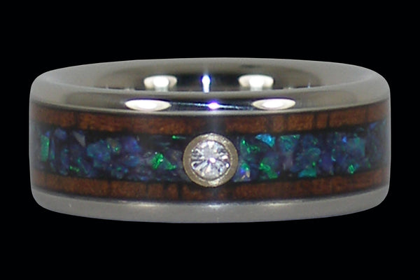 Opal Diamond Titanium Wedding Ring   Hawaii Titanium Rings   1