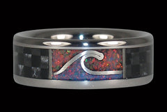 Titanium Surfer Ring with Carbon Fiber and Opal - Hawaii Titanium Rings