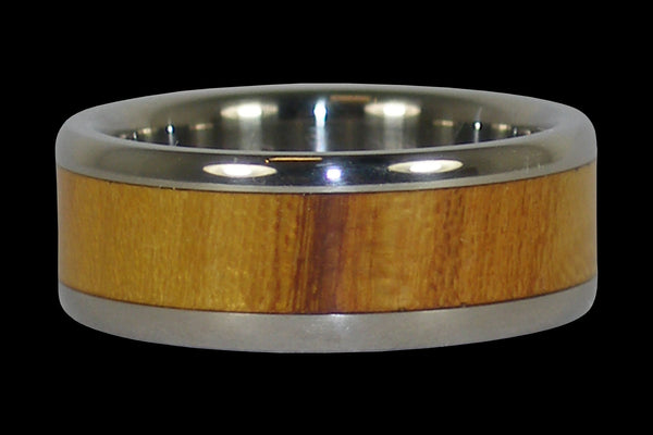 Osage Wood Inlay Titanium Ring Band