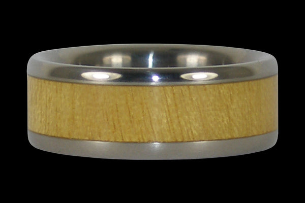 Pau Amarello Wood Inlay Titanium Ring Band