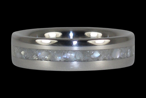 White Pearl Titanium Ring Band