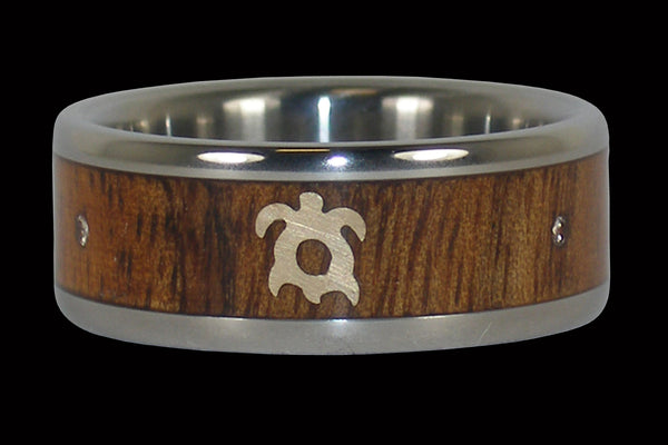Titanium Koa Wood Ring with Turtle and Diamonds