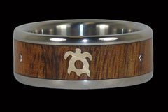 Titanium Koa Wood Ring with Turtle and Diamonds - Hawaii Titanium Rings