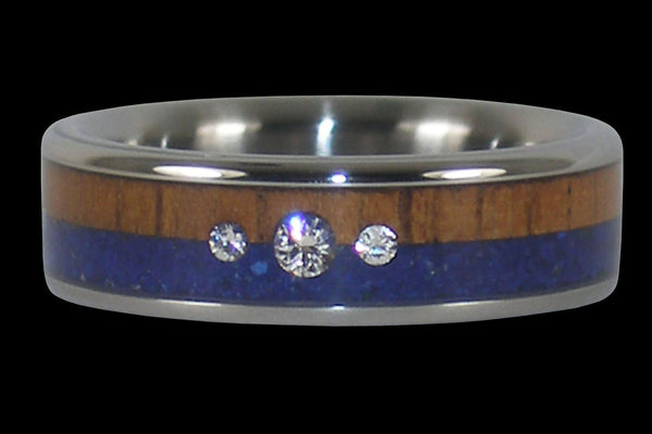 Three Diamond Lapis and Wood Titanium Ring