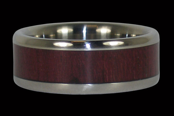 Purple Heart Wood Titanium Ring Band