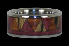 Wooden Tribal Design Titanium Ring - Hawaii Titanium Rings  - 1