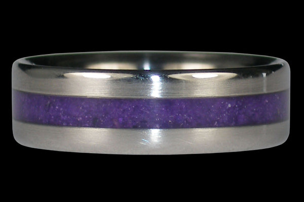 Narrow Inlay Purple Sugilite Titanium Ring