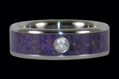 Diamond Purple Sugilite Titanium Ring Band