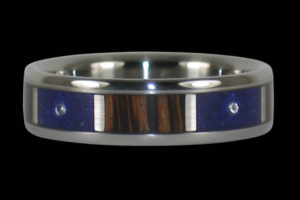 Palm Wood and Lapis Three Diamond Ring