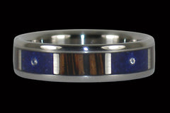 Palm Wood and Lapis Three Diamond Ring - Hawaii Titanium Rings