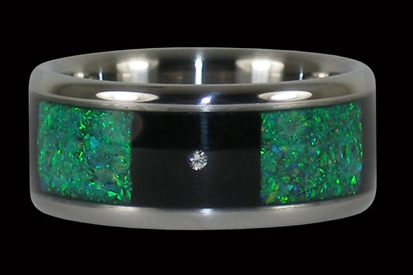 Green Opal and Black Wood Titanium Diamond Ring